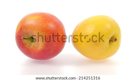 Yellow and red apples isolated on white background