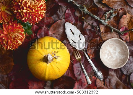 yellow and red colors autumn background with pumpkin, leaves, flowers and dishware