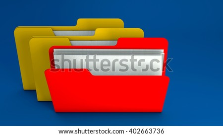 Yellow and red  file folder icon on blue background