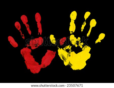 Yellow and red fingerprint - stock photo