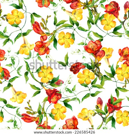 Yellow and red flowers - freesia and bindweed. Repeating floral pattern. Watercolor - stock photo