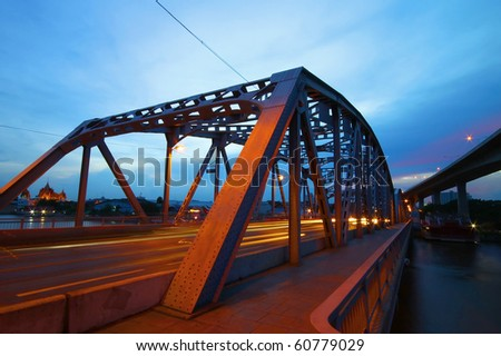 yellow and red light trails on the mega bridge,Thailand - stock photo