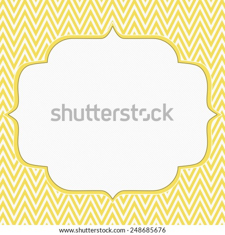 Yellow and White Chevron Zigzag Frame Background with center for copy-space, Classic Chevron Zigzag Frame - stock photo