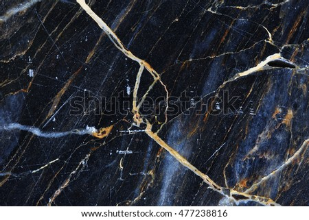 Yellow and white pattern natural of dark gray marble texture background.
