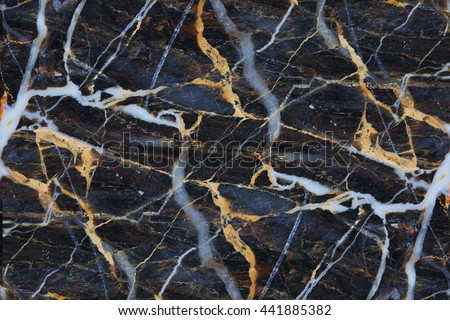 Yellow and white patterned structure of dark marble texture for design product, abstract background.