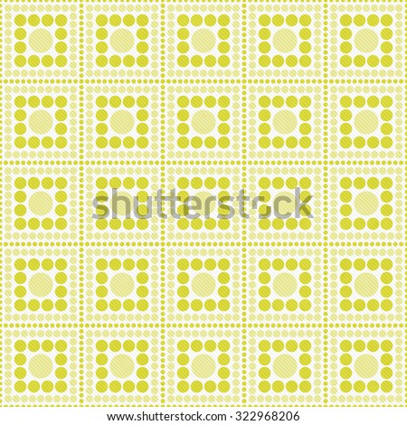 Yellow And White Polka Dot Square Abstract Design Tile Pattern Repeat Background that is seamless and repeats - stock photo
