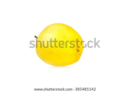 Yellow apple isolated on a white background