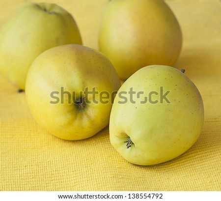 Yellow apples ony yellow background - stock photo