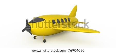 Yellow ariplane on white background. - stock photo