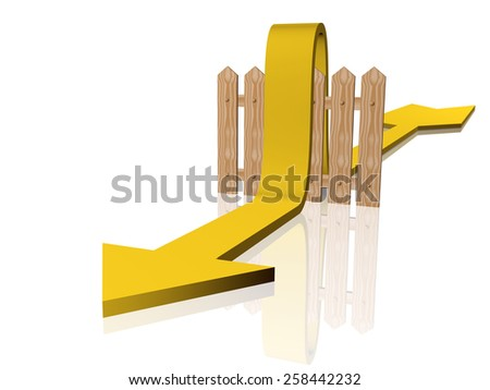 Yellow arrow and fence on white reflective background. - stock photo