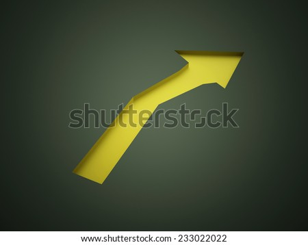 Yellow arrow business concept rendered - stock photo