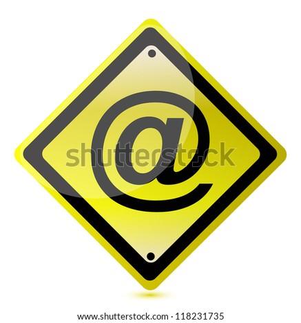 Yellow Att Sign Illustration Design Over Stock Illustration