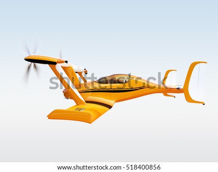 Yellow autonomous flying drone taxi flying in the sky. 3D rendering image.