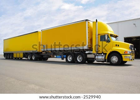Yellow B double truck - stock photo