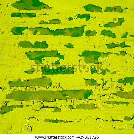 yellow background rusty metal panel painted