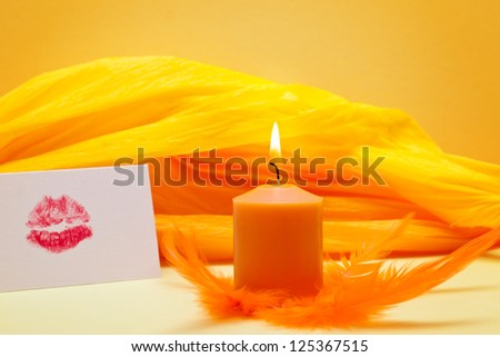 yellow background with romantic kiss mouth