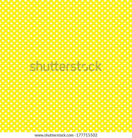 Yellow background with white polka dots pattern - stock photo