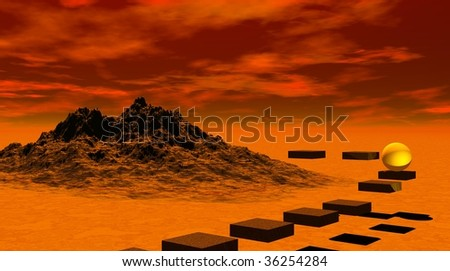 Yellow ball on stairs bypassing a rocky mountain - stock photo