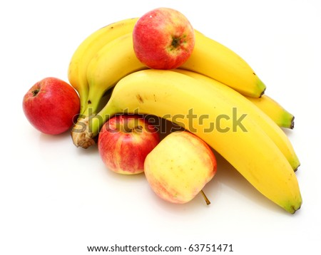 Yellow bananas apples and pears a still-life on a white background - stock photo