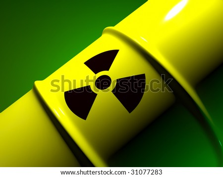 Yellow barrel with sign of radiation (close-up) - stock photo
