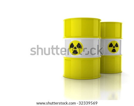 Yellow barrels with sign of radiation isolated on white background - stock photo