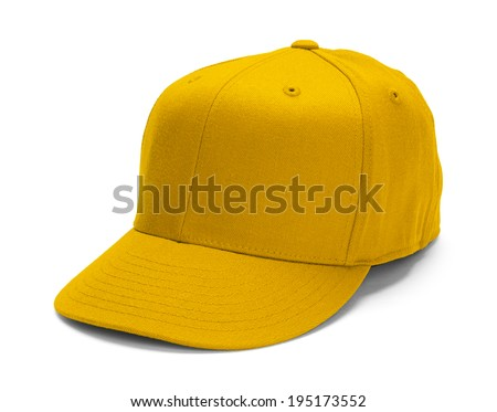 Yellow Baseball Hat With Copy Space Isolated on White Background. - stock photo