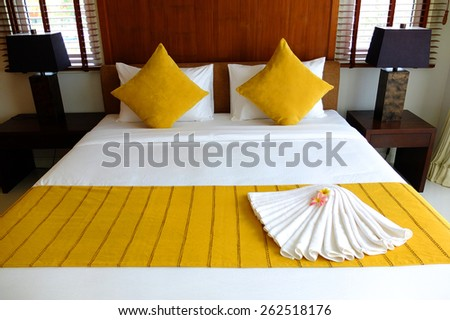 Yellow bed set - stock photo