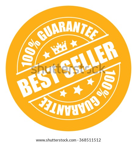 Yellow Best Seller 100% Guarantee Campaign Promotion, Product Label, Infographics Flat Icon, Sign, Sticker Isolated on White Background  - stock photo