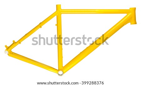 yellow bicycle frame isolated on white background - stock photo