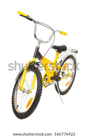 yellow bicycle isolated on white - stock photo