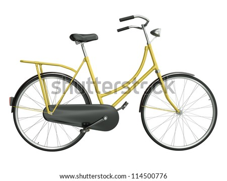 Yellow bicycle isolated on white background. 3D render. - stock photo