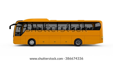 Yellow big tour bus isolated on white background
