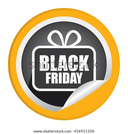 Yellow Black Friday  Promotion Campaign Infographics Icon on Circle Peeling Sticker Isolated on White Background  - stock photo
