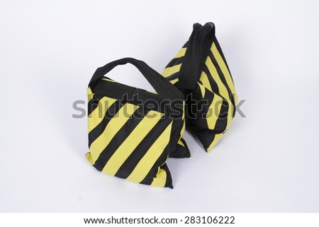 Yellow - black striped production sand bag