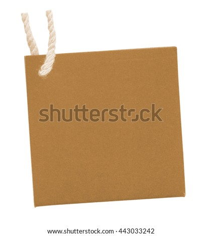 yellow  blank cardboard square  tag isolated on white