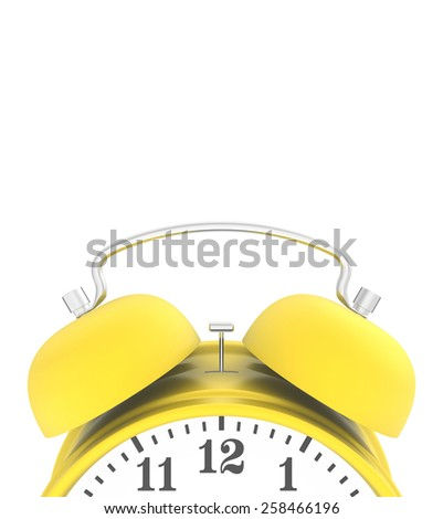 yellow blank top alarm clock isolated on white background. 3d render - stock photo