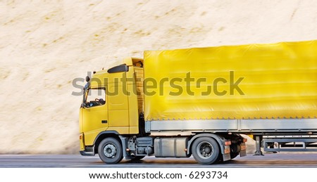 "yellow blank tractor trailer truck of ""business vehicles"" series - stock photo"