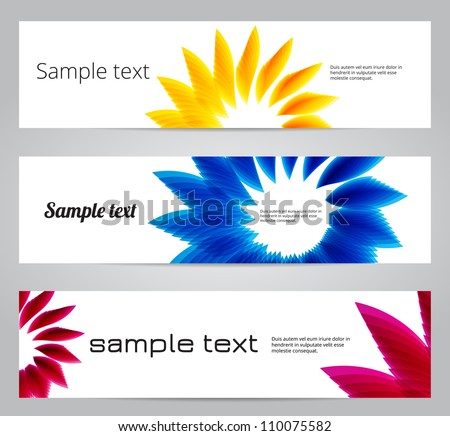 Yellow, blue and magenta floral banners - raster version - stock photo