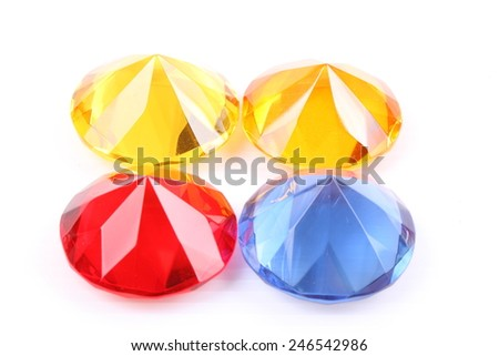 Yellow, blue and red diamond on a white background - stock photo