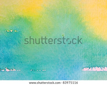 Yellow Blue & Green Watercolor - stock photo
