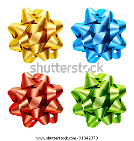 Yellow, blue, red and green bow is isolated on a white background - stock photo