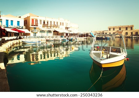 Yellow boat in Rethymnon,  impressions of Greece - stock photo