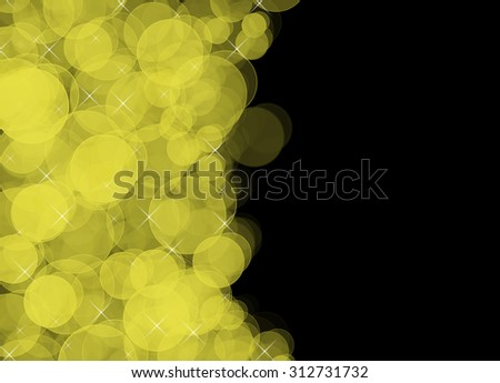 Yellow bokeh. Yellow and black background. Gold bokeh with stardust and sparkles. Beautiful defocused abstract party concept. Romantic shiny card. Elegant party invitation with space for text.  - stock photo