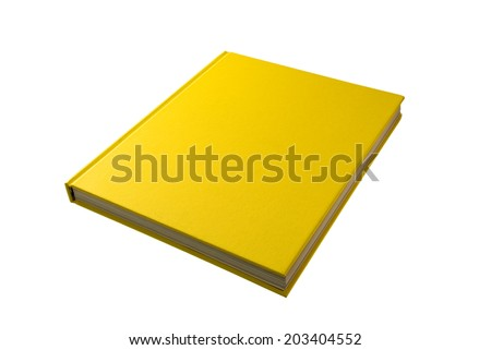 Yellow book. Closed book is laying on white. #2  - stock photo