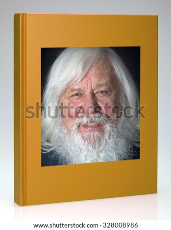 Yellow book with Fairy-tale grandpa hardcover, for design layout - stock photo