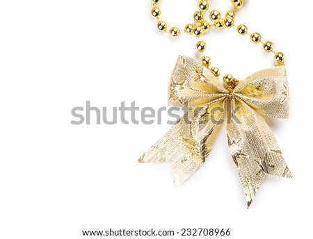 yellow bow beads Isolated on white background - stock photo
