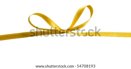 yellow bow isolated - stock photo