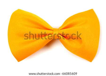 Yellow bow tie isolated on white background - stock photo