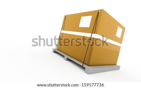 Yellow box on palette isolated on white background - stock photo