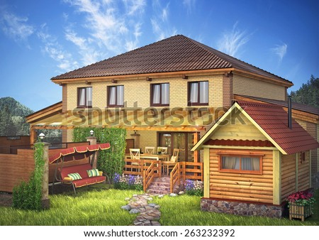 Yellow brick house with an area and garden. Exterior - stock photo